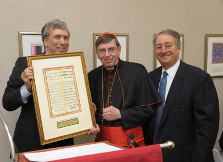 Jewish Theological Seminary Chancellor Arnold Eisen, His Eminence Kurt Cardinal Koch, and Howard Milstein.