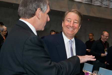 Howard Milstein talks with AAP alumnus Robert Joy at the Paul Milstein Hall Celebration.