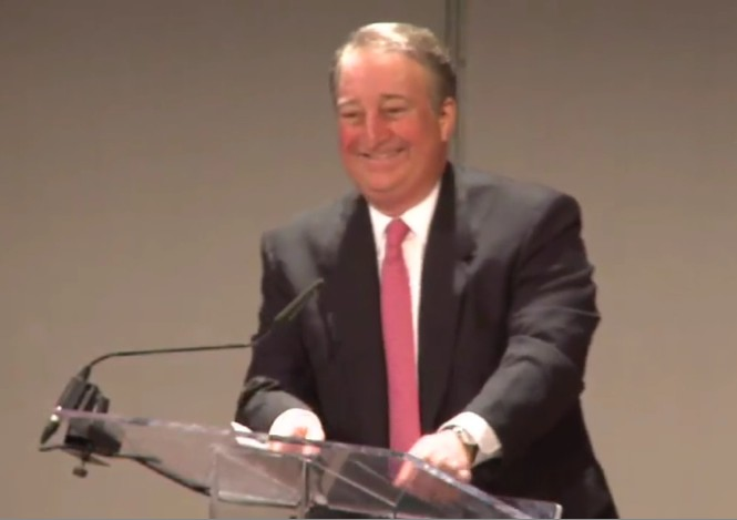 Howard Milstein welcomes guests to the premiere of <i>Shakespeare Uncovered.</i>