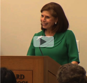 Abby Milstein speaks at the dedication of the Milstein Conference Center at Harvard Law School