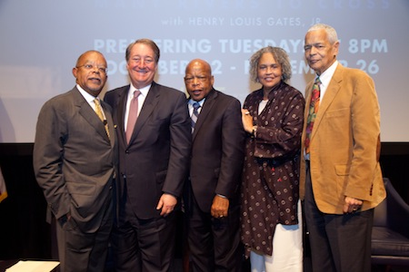 Professor Henry Louis Gates Jr., Howard Milstein, Representative John Lewis, Charlayne Hunter-Gault, and former NAACP Chairman Julian Bond (left to right) at the reception and screening for 'The African Americans: Many Rivers to Cross'