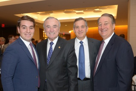 Michael Milstein, New York Police Commissioner William Bratton, Edward Milstein and Howard Milstein (left to right)