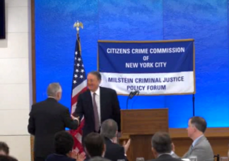 Howard Milstein introduces New York Police Commissioner William Bratton at the Milstein Criminal Justice Policy Forum on February 7, 2014.