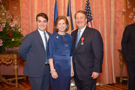 Michael Milstein, Abby Milstein, and Howard Milstein at the French Consulate.