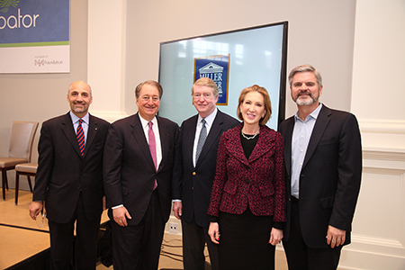 William Antholis, executive director of The Miller Center; Howard Milstein; Gene Fife, Chair, The Miller Center; Carly Fiorina, Steve Case (left to right)
