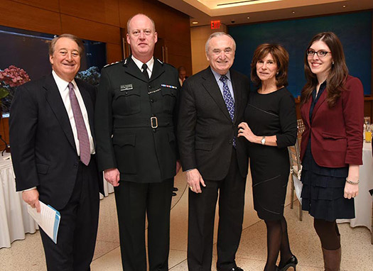Howard Milstein; Chief Constable George Hamilton; NYPD Commissioner William Bratton; Rikki Klieman; and Ashley Cannon, Director of Public Policy, Citizen's Crime Commission (left to right).