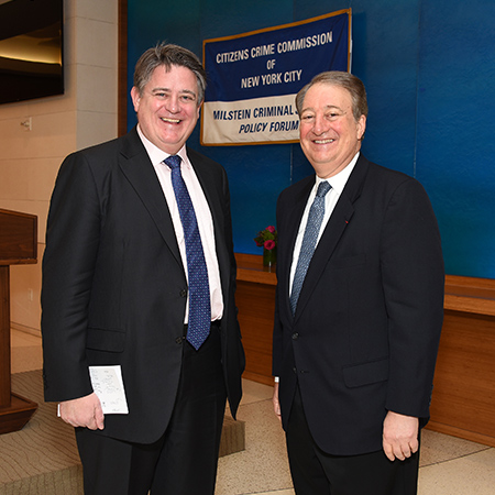 Deputy Mayor Stephen Greenhalgh and Howard Milstein at the Citizen's Crime Commission.