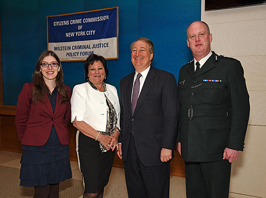 Ashley Cannon, Director of Public Policy, Citizen's Crime Commission; Anne Connolly, Chair of the Northern Ireland Policing Board; Howard Milstein; Chief Constable George Hamilton, Police Service of Northern Ireland (left to right).