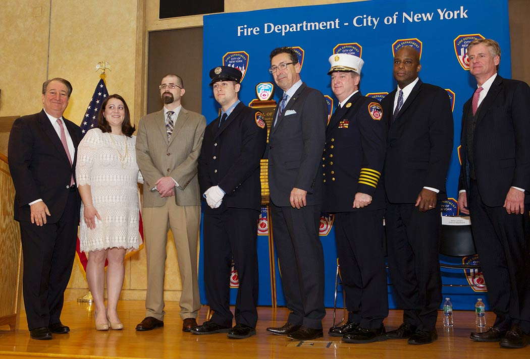 Howard Milstein; Leslie and Aaron Faulkner; Firefighter Michael McCauley; Fire Commissioner Daniel Nigro;