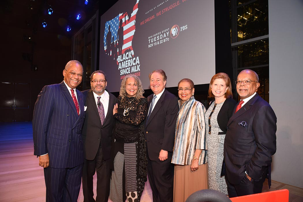 Rev. Calvin O. Butts III, Charlayne Hunter-Gault, Michael Eric Dyson, Howard P. Milstein, Congresswoman Eleanor Holmes Norton, Abby S. Milstein, Henry Louis Gates, Jr. (left to right)