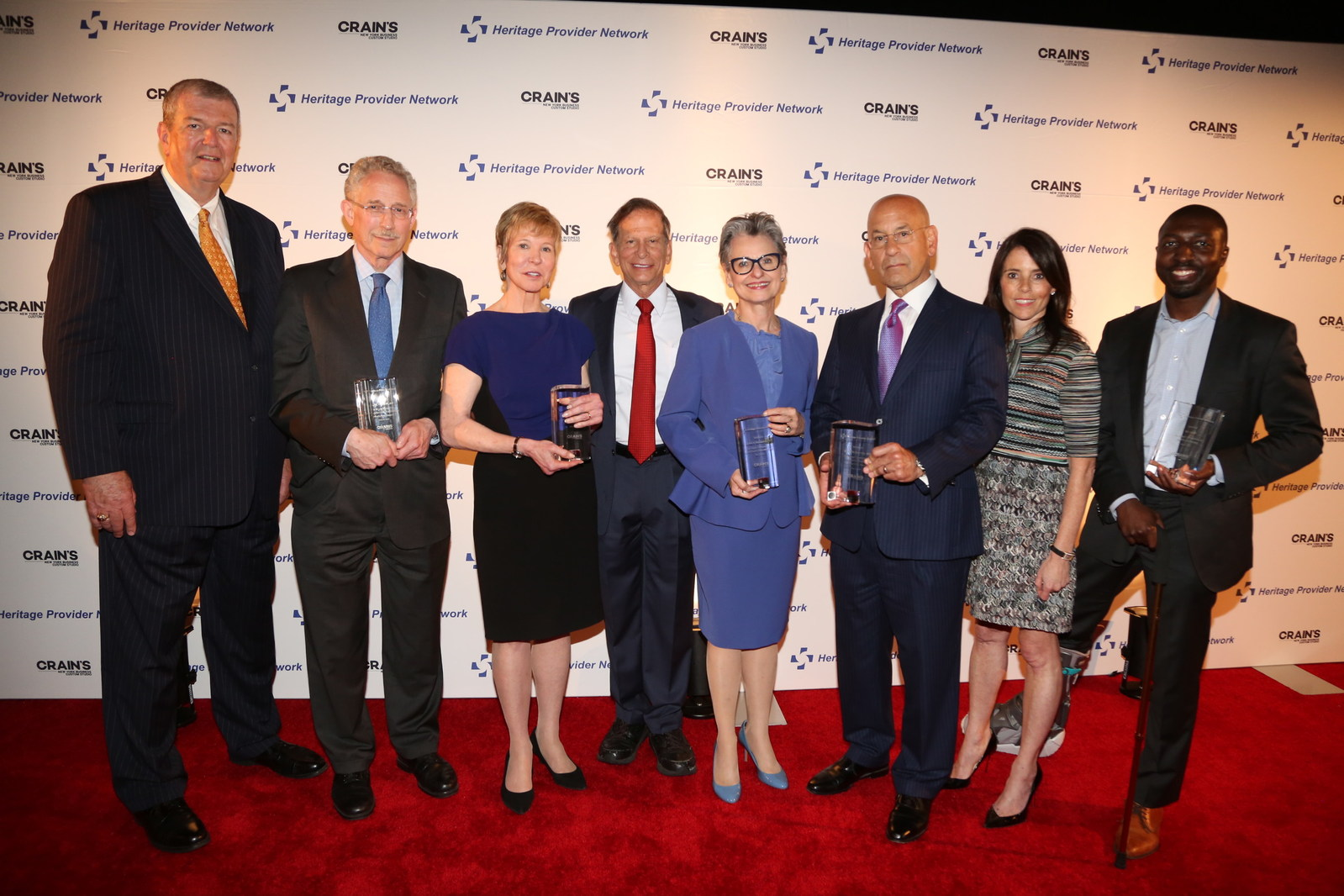 Winners HPN Crain's 2017 Heritage. Healthcare Innovation Awards. From left to right: Mark Wagar, HPN, Dr. Carl Nathan, Karen Ignagni, Dr. Richard Merkin, HPN, Dr. Nora V. Bergasa, Dr. Steven Safyer, Jill Kaplan, Crain's NY Business, Gil Addo