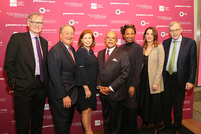 "From left: David K. Blight, Howard P. Milstein, Abby Milstein, Henry Louis ""Skip"" Gates, Jr., Kimberlé Crenshaw, Julia Marchesi and Eric Foner"
